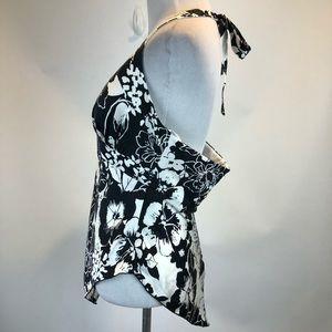 Cache Tops - Cache Black White Floral Silk Halter Tank SZ 12